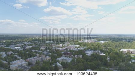 aerial view over streets of Pushkin town, Tsarskoye Selo in summer day, wide photo
