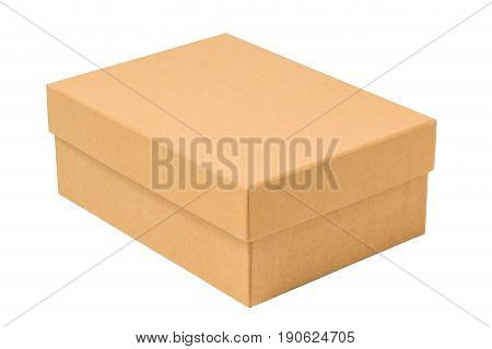 closed clean cardboard box with put on cap isolated on white background