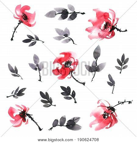 Watercolor and ink illustration of red flowers and leaves. Sumi-e u-sin painting.