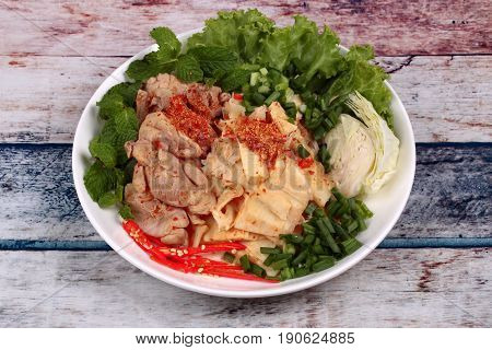 Spicy Sour Mixed Vegetable Salad With Chicken And Bamboo Shoots.