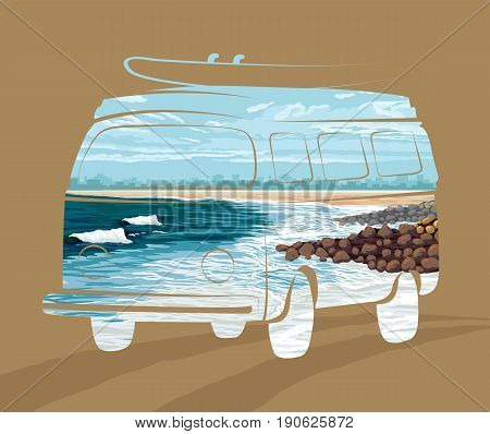 Double exposure, Surf trip concept Vector Summer surfing, vector illustration