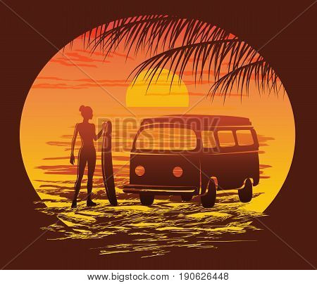 Surf silhouettes, Beach surfer emblem, vector illustration
