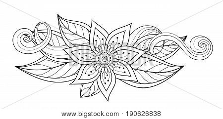 Vector Beautiful Abstract Monochrome Floral Composition