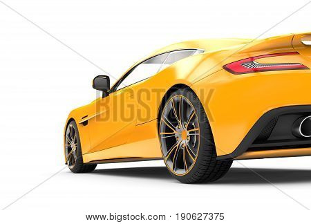 Back of a yellow luxury car isolated on a white background isolated on a white background: 3d rendering