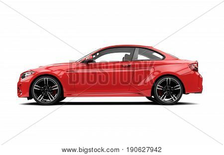 Lateral red sport car isolated on a white background isolated on a white background: 3d rendering
