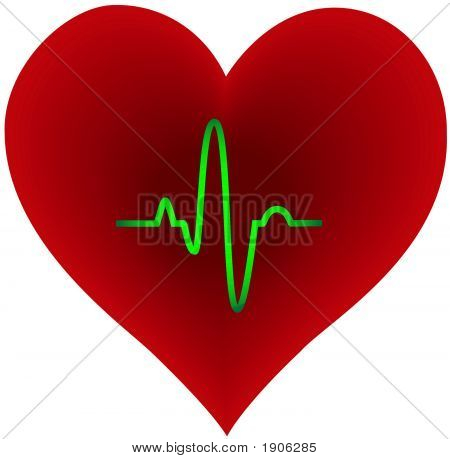 Purple Heart Shape With Green Pulse Trace Inside - Vector Illustration