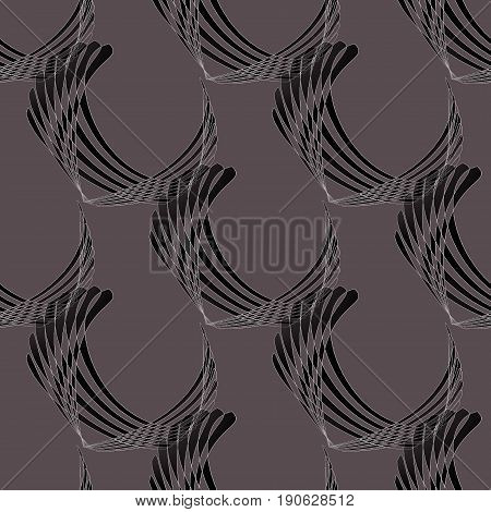 Abstract geometric seamless modern background. Regular curved stripes pattern dark gray, brown and black with white outlines diagonally.