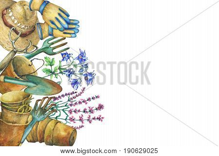 Border with gardening tools, solar hat, gloves, terra cotta plant pots and flowers. Shovel, rake, pitchfork. Watercolor hand drawn painting illustration, isolated on white background.