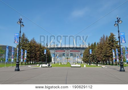 11.06.2017.Russia.Saint-Petersburg.Krestovsky island.The city built a football stadium for the world Cup in 2018.