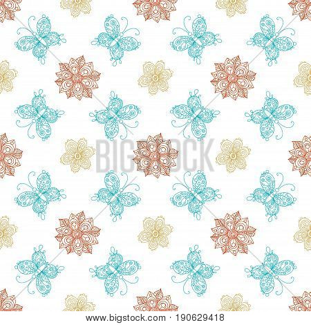 Vector Doodles Floral Seamless Pattern.