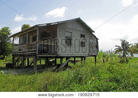 Traditional typical carribean house in Belize, Central America
