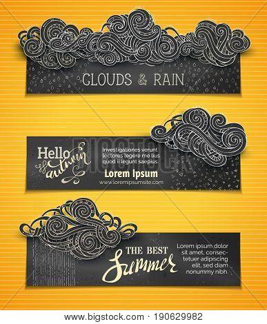 Vector Set Of Chalk Weather Horizontal Banners.