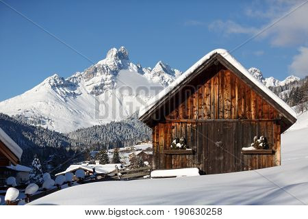 Traditional alpine hut in the Austrian alps
