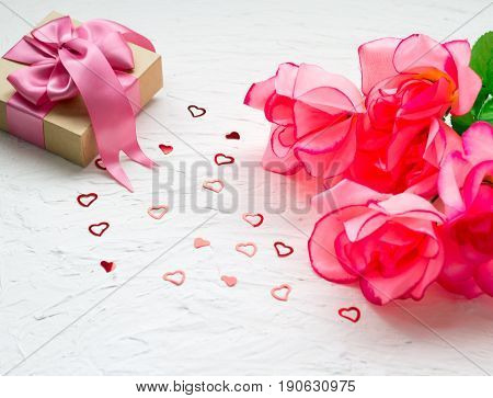 Gift Box With. Pink Satin Gift Bow