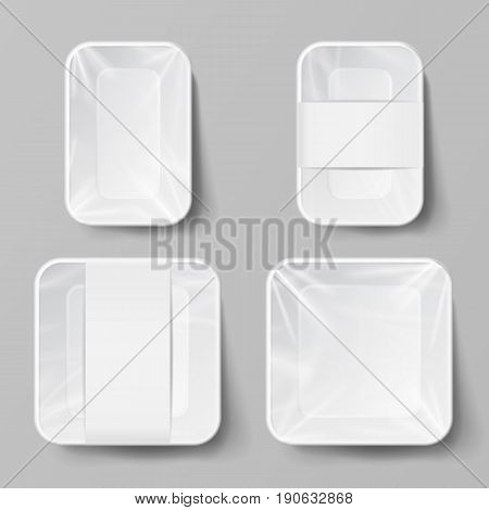 Empty Blank Styrofoam Plastic Food Tray Container. White Empty Mock Up. Good For Package Design