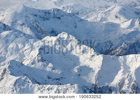 Mountain range. Winter landscape in Austrian alps