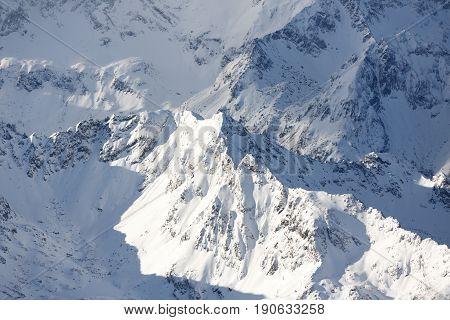Alpine mountain peak. Dachstein massive in Austrian Alps