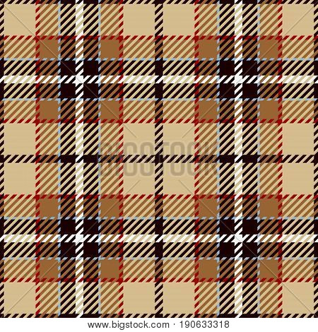 Tartan Seamless Pattern Background. Red Black Brown Beige and White Plaid Tartan Flannel Shirt Patterns. Trendy Tiles Vector Illustration for Wallpapers.