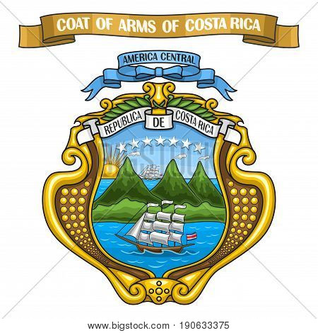 Vector illustration Costa Rican Coat of Arms, national state heraldic shield blazon - Emblem of Costa Rica, on ribbon title text: coat of arms of costa rica, official heraldry, symbolic crest emblem.