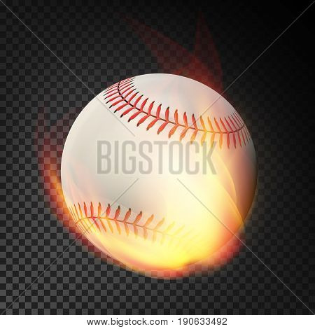 Flaming Realistic Baseball Ball On Fire Flying Through The Air. Burning Ball
