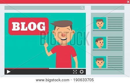 Video blogger concept. Male blogger channel. Computer screen with video player. Vector illustration in flat style