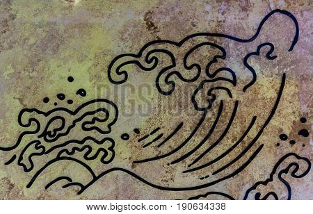 Abstract wave picture on marble stone wall