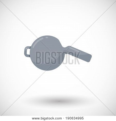 Whistle icon Flat design of sport or lifeguard equipment with round shadow vector illustration