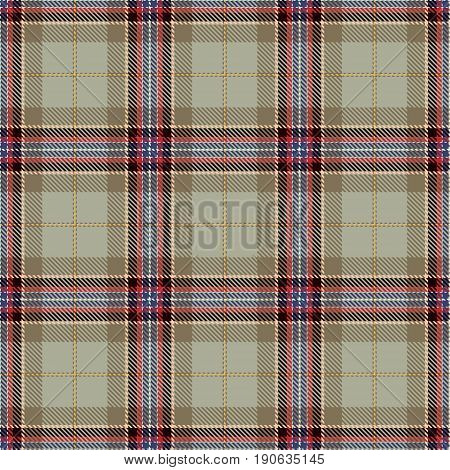 Tartan Seamless Pattern Background. Beige Brown Black Red Green Yellow and White Plaid Tartan Flannel Shirt Patterns. Trendy Tiles Vector Illustration for Wallpapers.