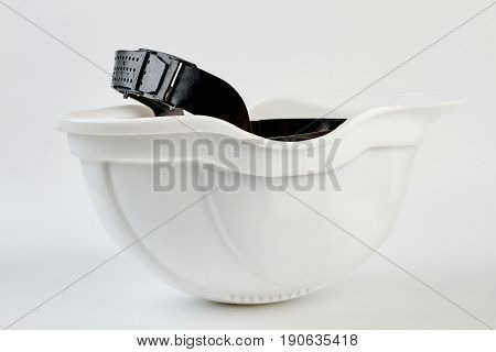 Safety helmet isolated on white. Internal part of helmet with clipping path.
