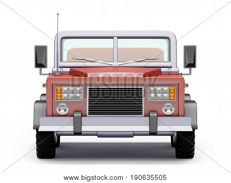 Red safari suv front view in retro cartoon style isolated on white. 3d illustration.