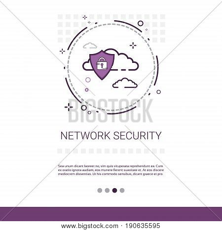 Data Protection Privacy Internet Information Network Security Web Banner With Copy Space Vector Illustration