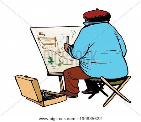 Artist at work on a landscape, plein air painter