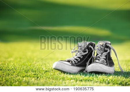 Pair of gumshoes on green grass against blurred background