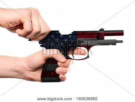 Man reloading firearm with pattern of American flag on white background. Gun control concept