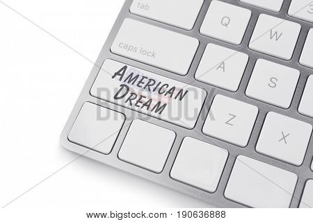 Text AMERICAN DREAM on keyboard button, white background