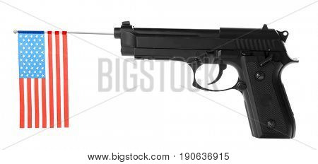 Firearm and American flag on white background. Gun control concept