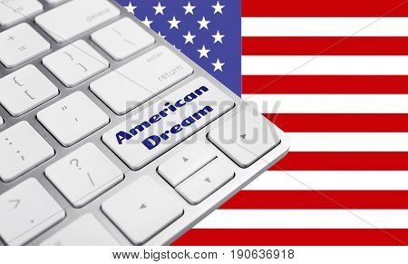 Text AMERICAN DREAM on keyboard button and USA flag as background