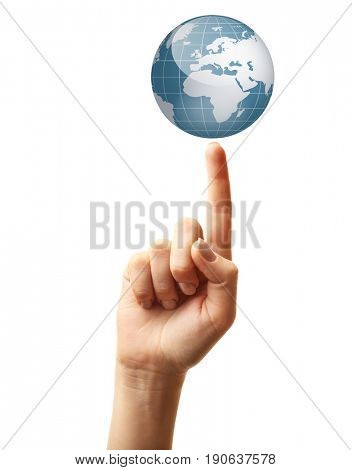 Woman pointing on globe, white background. Concept of global leadership and geopolitics