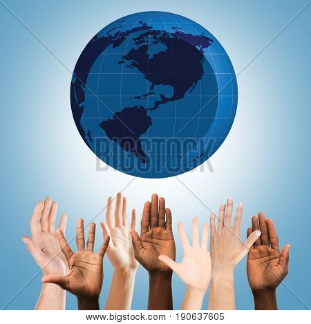 People raising hands and globe on blue background. Concept of worldwide unity and environment protection