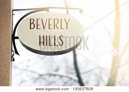 BEVERLY HILLS signpost on wall. Travel USA concept