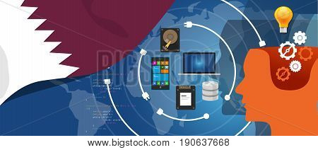 Qatar information technology digital infrastructure connecting business data via internet network using computer software an electronic innovation vector.