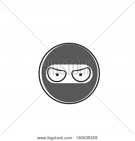 Ninja Cartoon Face Wear Mask People Emotion Icon Vector Illustration