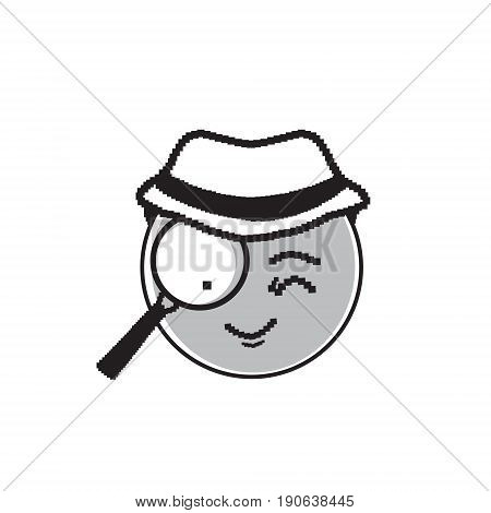 Detective Cartoon Face Wear Hat Suspecting People Emotion Icon Vector Illustration