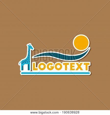 paper sticker on stylish background of giraffe logo