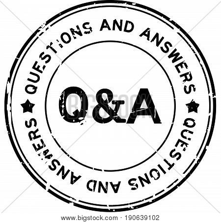 Grunge black Q&A (Questions and Answers) rubber seal stamp on white background