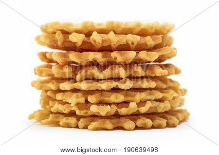 Homemade Crisp Waffle. Isolated On White Background