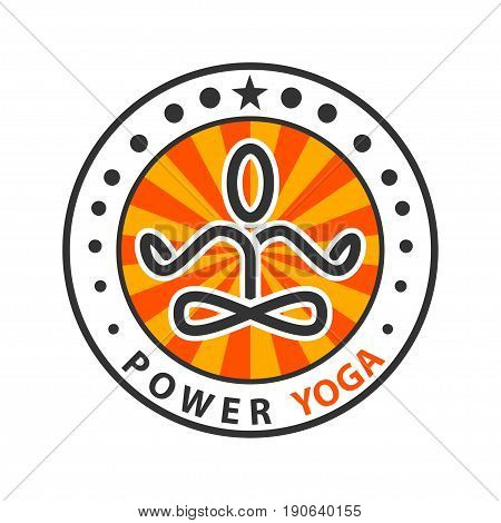 Illustration of logo design for yoga symbol on a white background.