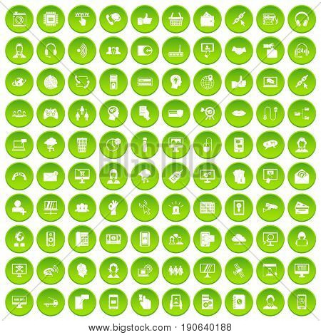 100 contact us icons set green circle isolated on white background vector illustration