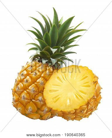 Pineapple whole and half isolated on white background as package design element