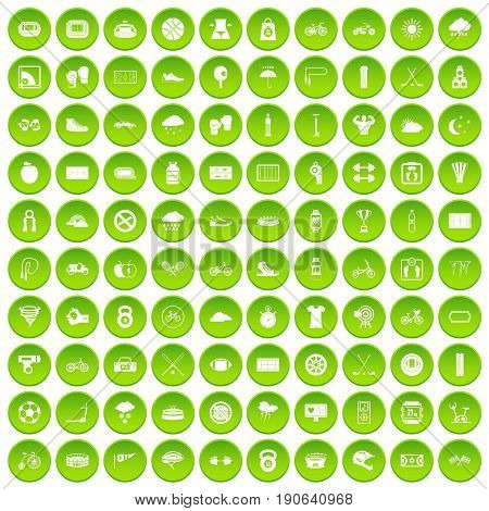 100 cycling icons set green circle isolated on white background vector illustration